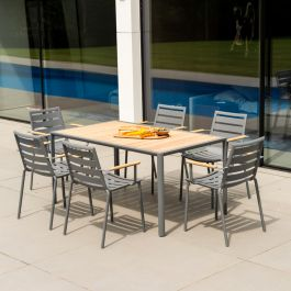 Alexander Rose Fresco Flint Aluminium 6 Seater Cushioned Rectangular Garden Dining Set