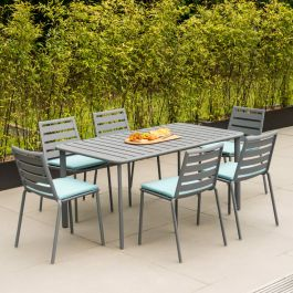 Alexander Rose Fresco Flint Aluminium 6 Seater Rectangular Garden Dining Set with Green Cushions