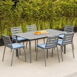 Alexander Rose Fresco Flint Aluminium 6 Seater Rectangular Garden Dining Set with Blue Cushions
