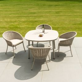 Alexander Rose Cordial Aluminium 4 Seater Beige Rope Oval Garden Dining Set