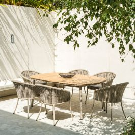 Alexander Rose Cordial Aluminium 6 Seater Beige Rope Oval Garden Dining Set