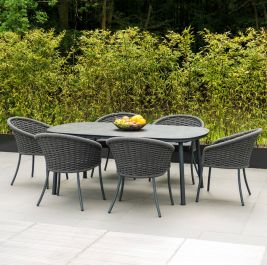 Alexander Rose Cordial 6 Aluminium Seater Grey Rope Oval Garden Dining Set