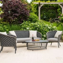 Alexander Rose Cordial Aluminium 4 Seater Grey Rope Oval Garden Lounge Set