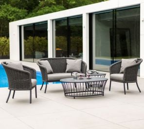 Alexander Rose Cordial Aluminium 4 Seater Pebble Rope Oval Garden Lounge Set