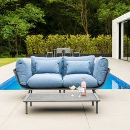 Alexander Rose Beach Flint Aluminium 2 Seater Garden Lounge Set with Blue Cushions