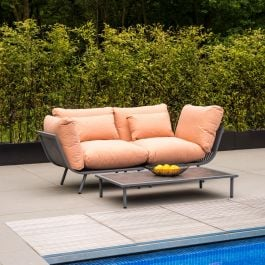 Alexander Rose Beach Flint Aluminium 2 Seater Garden Lounge Set with Peach Cushions