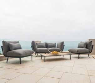 Alexander Rose Beach Flint Aluminium Grey 4 Seater Garden Lounge Set
