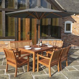 2.7m Willington Grey Wooden Parasol FSC™ by Rowlinson®