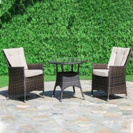 Maze Rattan LA 2 Seater Patio Garden Bistro Set in Grey