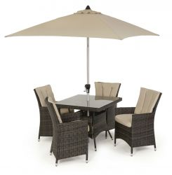 Maze Rattan LA 4 Seater Square Garden Dining Set in Brown