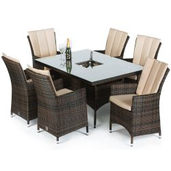 Maze Rattan LA 6 Seater Rectangular Dining Set with Ice Bucket in Brown