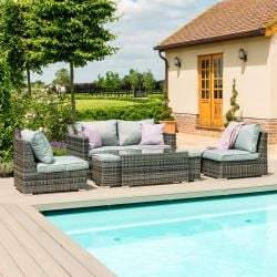 Maze Rattan Seville Garden 2 Seater Sofa Set in Grey