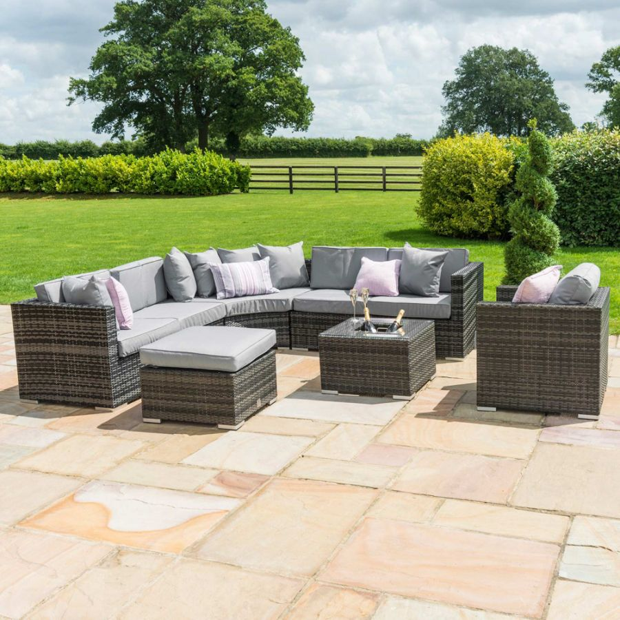 Maze Rattan Barcelona Garden Corner Sofa Set with Ice Bucket and Chair in Grey