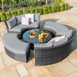 Maze Rattan Chelsea Garden Lifestyle Round Suite with Glass Table Top in Grey