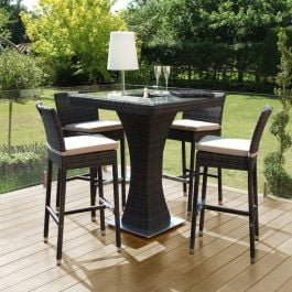 Maze Rattan 4 Seater Garden Square Bar Set with Ice Bucket in Brown