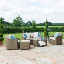 Maze Rattan Tuscany Garden Sofa Chairs and Table Set in Natural