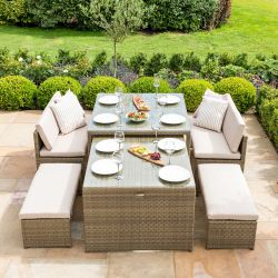 Maze Rattan Tuscany Garden Sofa Bench and Table Dining Set in Natural