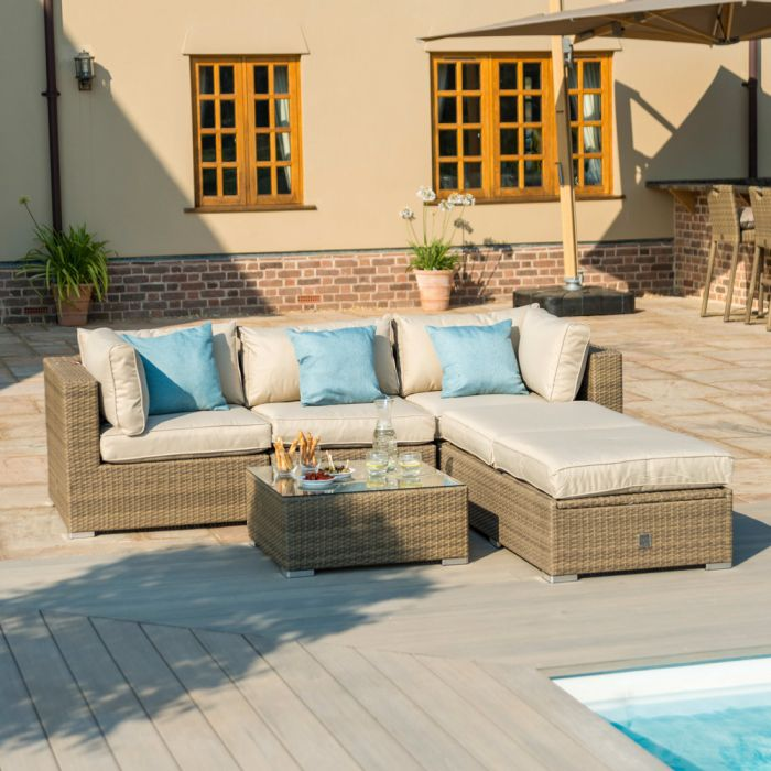 Maze Rattan Tuscany Sofa to Daybed Sunlounger Corner Set in Natural