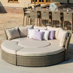 Maze Rattan Winchester Garden Lifestyle Sofa Benches and Table Set in Natural