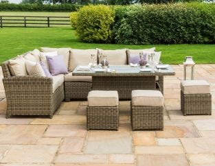 Maze Rattan Winchester Kingston Garden Corner Sofa Rising Table and Footstools Dining Set in Natural