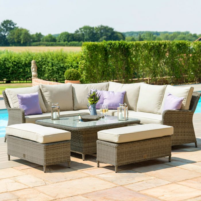 Maze Rattan Winchester Royal Garden Corner Sofa Dining Set in Natural
