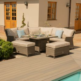 Maze Rattan Winchester Royal Garden Corner Sofa Benches and Table with Fire Pit in Natural
