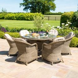 Maze Rattan Winchester 6 Seater Garden Round Fire Pit Dining Set with Heritage Chairs and Lazy Susan in Natural