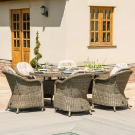 Maze Rattan Winchester 6 Seater Garden Oval Fire Pit Dining Set with Heritage Chairs in Natural