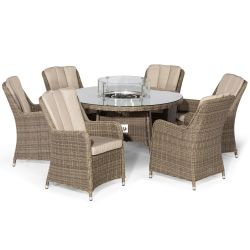 Maze Rattan Winchester Garden 6 Seater Round Table with Fire Pit Lazy Susan and Chairs Dining Set in Natural