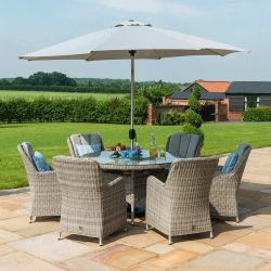 Maze Rattan Oxford 6 Seater Round Garden Dining Set with Ice Bucket and Lazy Susan in Light Grey