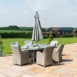 Maze Rattan Oxford 6 Seater Garden Oval Table with Ice Bucket and Lazy Susan in Light Grey