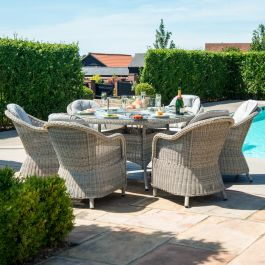 Maze Rattan Oxford Garden 6 Seater Round Fire Pit Dining Set with Heritage Chairs and Lazy Susan in Light Grey