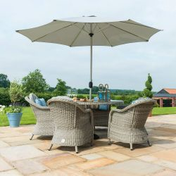 Maze Rattan Oxford Garden 6 Seater Oval Table with Ice Bucket Lazy Susan Dining Chairs in Light Grey