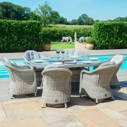 Maze Rattan Oxford Garden 6 Seater Oval Table with Fire Pit and Dining Chairs in Light Grey