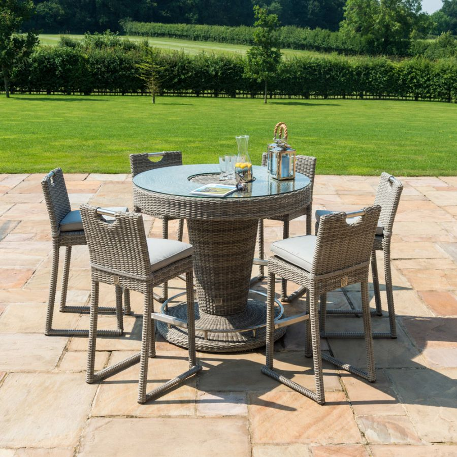 Maze Rattan Oxford Garden 6 Seater Round Bar Set with Ice Bucket and Stools in Light Grey