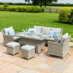 Maze Rattan Oxford Garden Sofa Chairs and Table with Ice Bucket Dining Set Light Grey