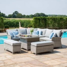 Maze Rattan Oxford Royal Garden Corner Sofa Benches and Table with Ice Bucket Dining Set in Light Grey