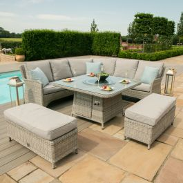 Maze Rattan Oxford Royal Garden Corner Sofa Benches and Table with Firepit in Light Grey