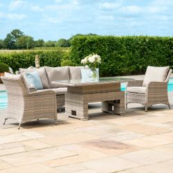 Maze Rattan Cotswolds Garden 3 Seater Sofa Chairs Footstool and Rising Table in Grey/Taupe