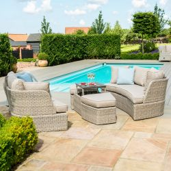 Maze Rattan Cotswolds Garden 2 Daybed Sofas Stools and Table in Grey/Taupe