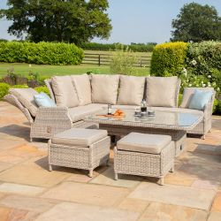 Maze Rattan Cotswolds Garden Reclining Corner Sofa Footstools and Rising Table Set in Grey/Taupe