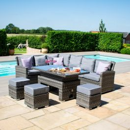 Maze Rattan Victoria Garden Corner Sofa and Footstools with Rectangular Rising Table in Grey