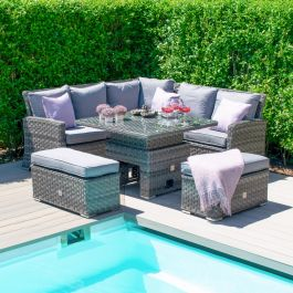 Maze Rattan Victoria Garden Corner Sofa and Benches Set with Square Rising Table in Grey