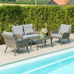 Maze Rattan Florence Garden 2 Seater Sofa Chairs and Table Set in Grey