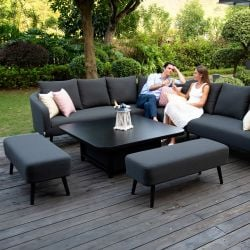 Maze Lounge Ambition Garden Square Corner Sofa and Benches Dining Set with Rising Table in Charcoal