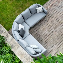 Maze Rattan Ambition Garden Square Corner Sofa and Benches Dining Set with Rising Table in Flanelle