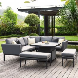 Maze Lounge Pulse Garden Square Corner Sofa and Benches Dining Set with Rising Table in Flanelle