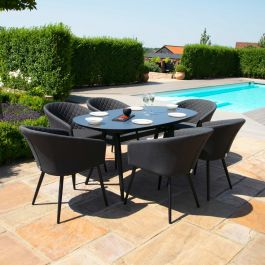 Maze Lounge Ambition Garden 6 Seater Oval Table and Chairs Dining Set in Charcoal