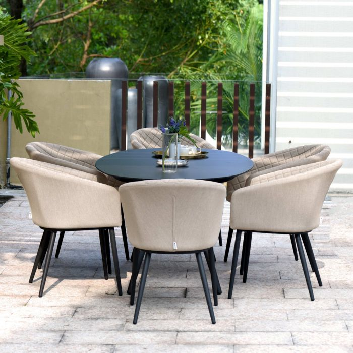 Maze Lounge Ambition Garden 6 Seater Oval Table and Chairs Dining Set in Taupe