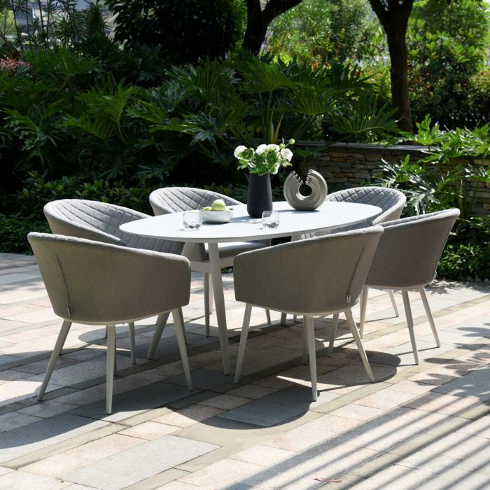 Maze Lounge Ambition Garden 6 Seater Oval Table and Chairs Dining Set in Lead Chine